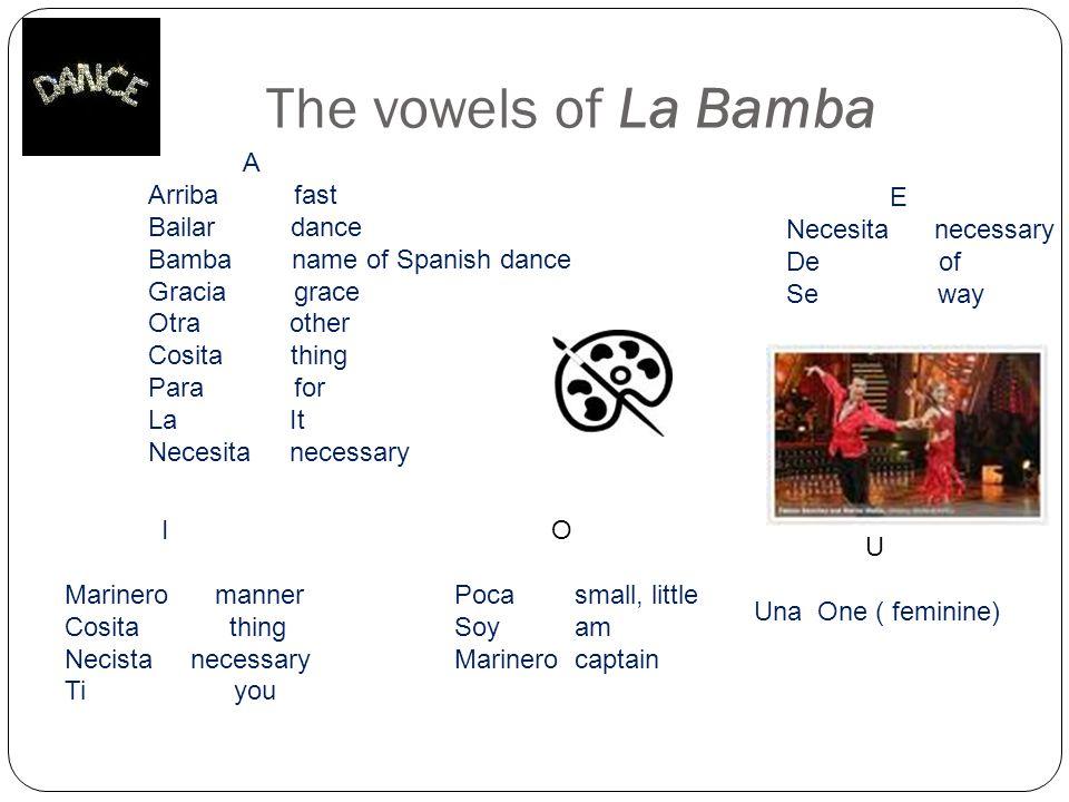 The vowels of La Bamba A Arriba fast Bailar dance