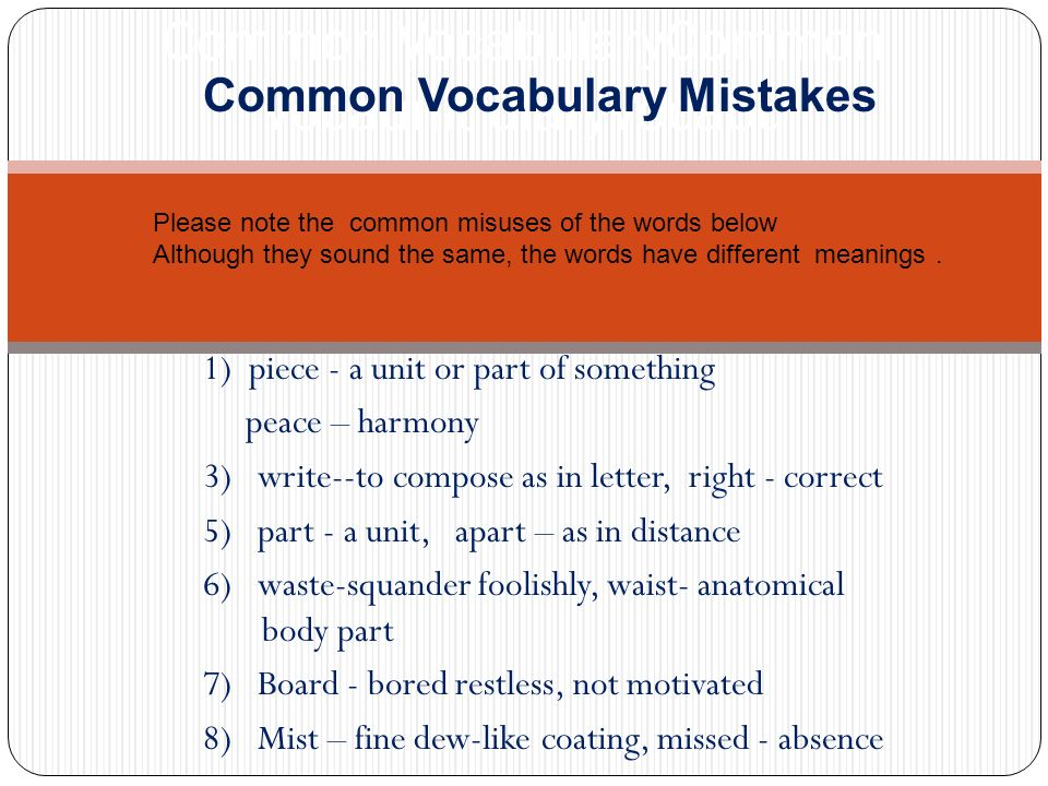 Common VocabularyCommon Vocaunit ularyVocabu