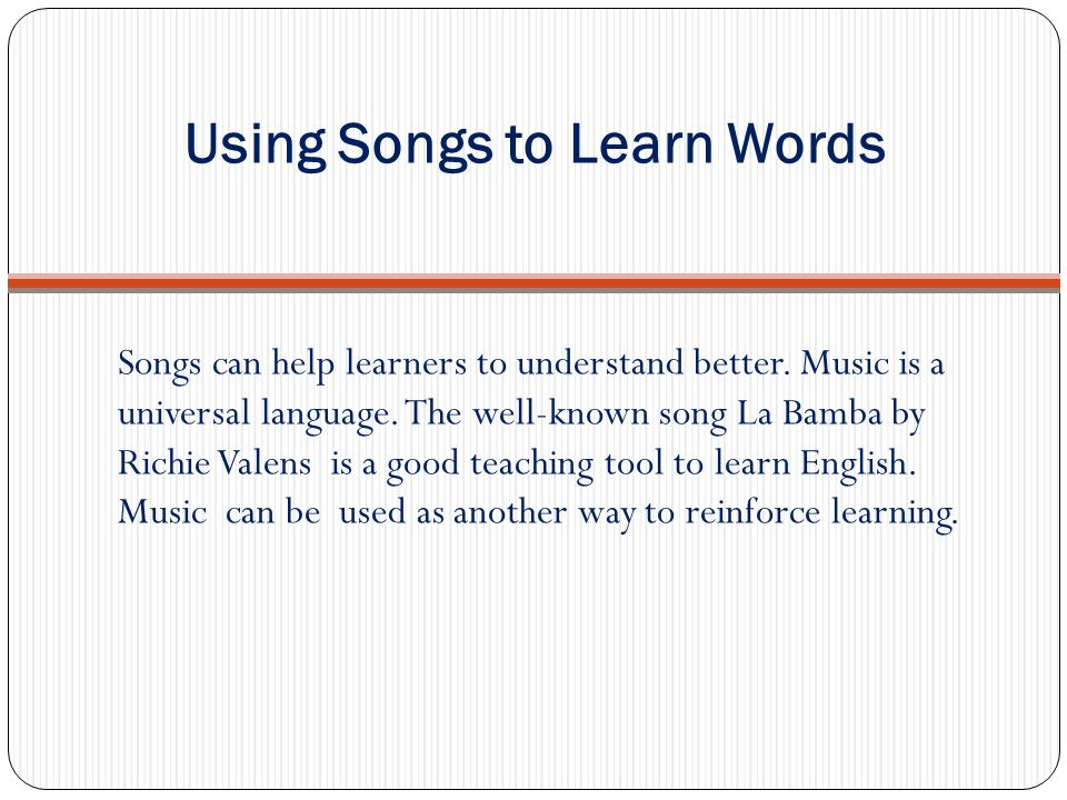 Using Songs to Learn Words