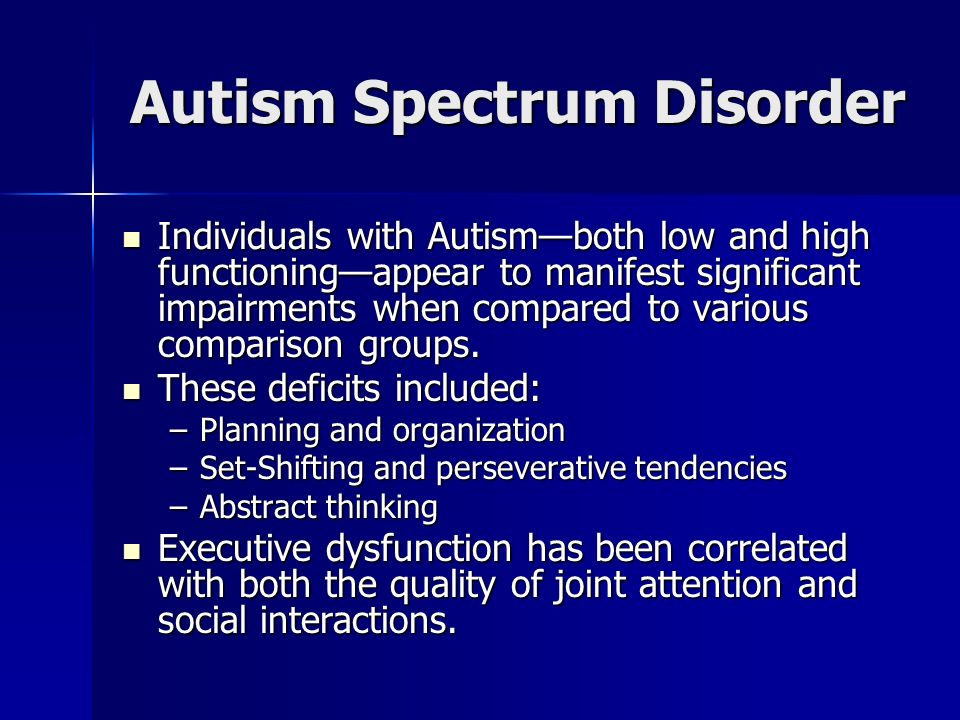 "autism neurocognitive disorder Neurocognitive disorder research: autism psychology november, 09, 2010 ""autism is a lifelong developmental disability it is part of the autism spectrum and is sometimes referred to as an."