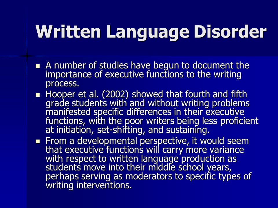 Written Language Disorder