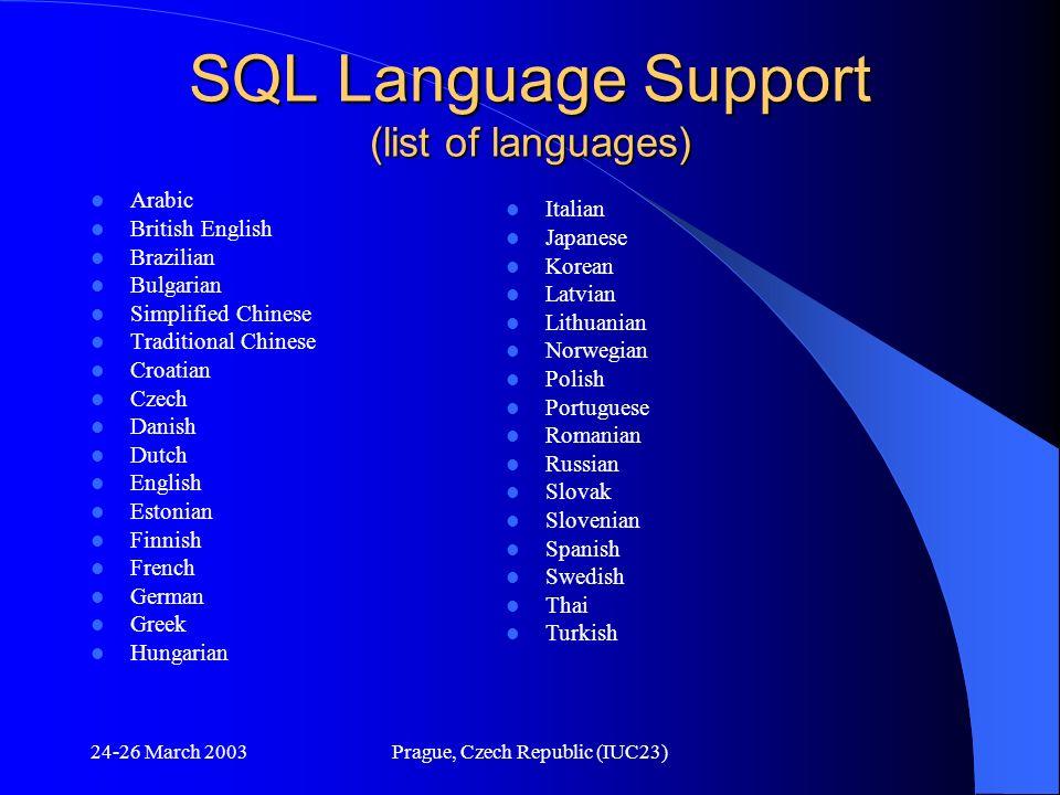 SQL Language Support (list of languages)