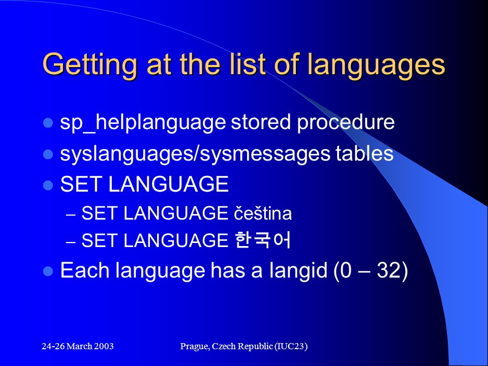 Getting at the list of languages