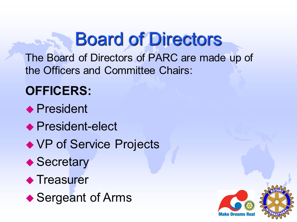 Board of Directors OFFICERS: President President-elect