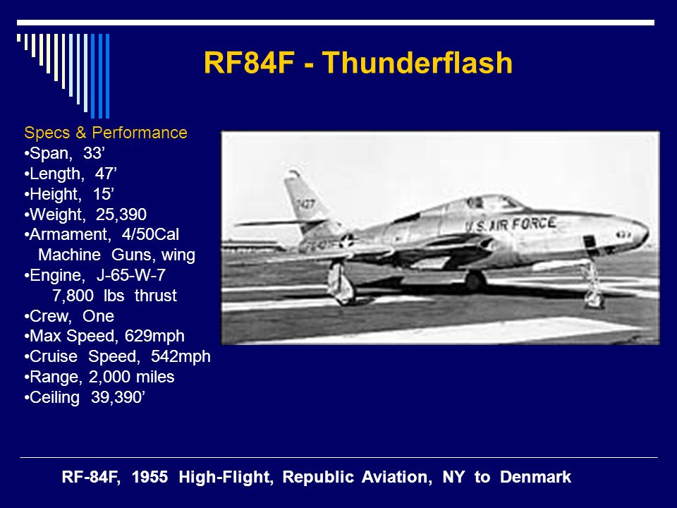 RF84F - Thunderflash Specs & Performance Span, 33' Length, 47'