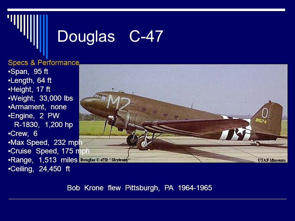 Douglas C-47 Specs & Performance Span, 95 ft Length, 64 ft