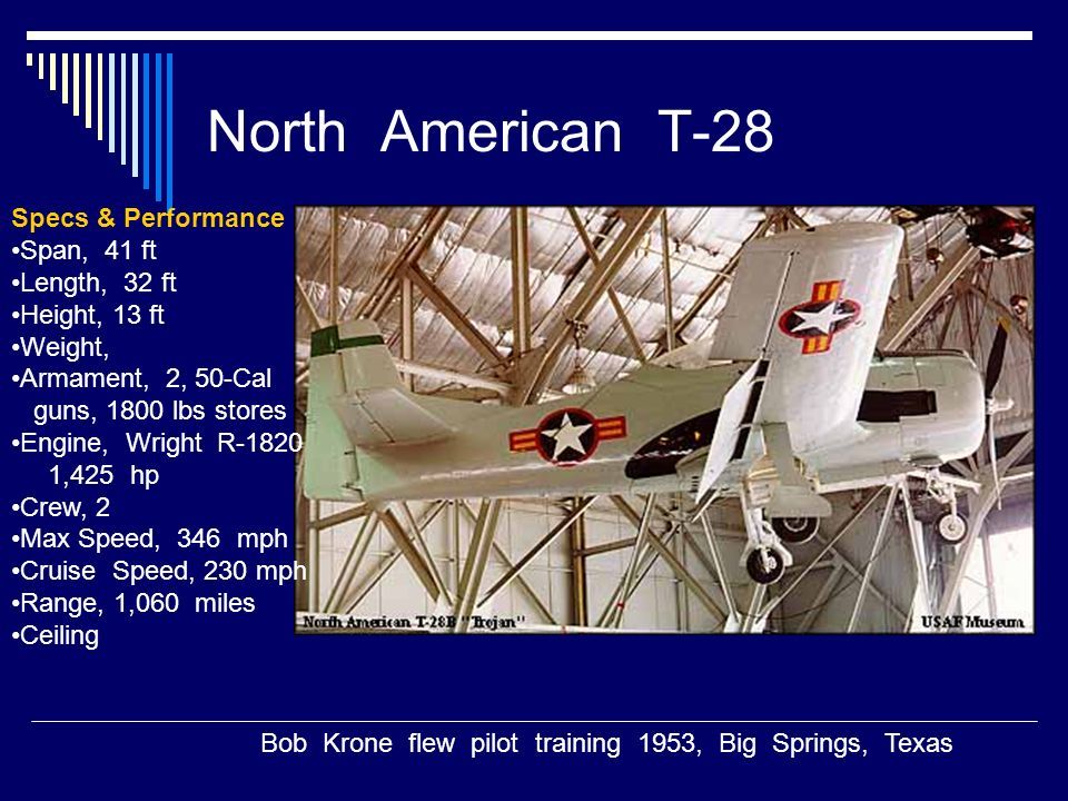 North American T-28 Specs & Performance Span, 41 ft Length, 32 ft