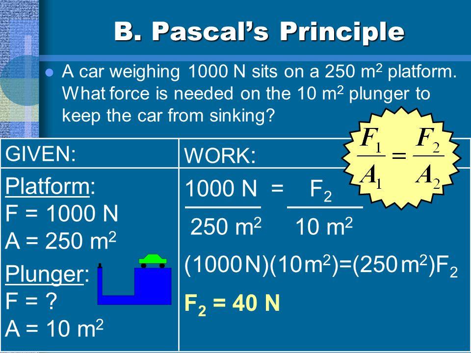 B. Pascal's Principle Platform: 1000 N = F2 F = 1000 N 250 m2 10 m2