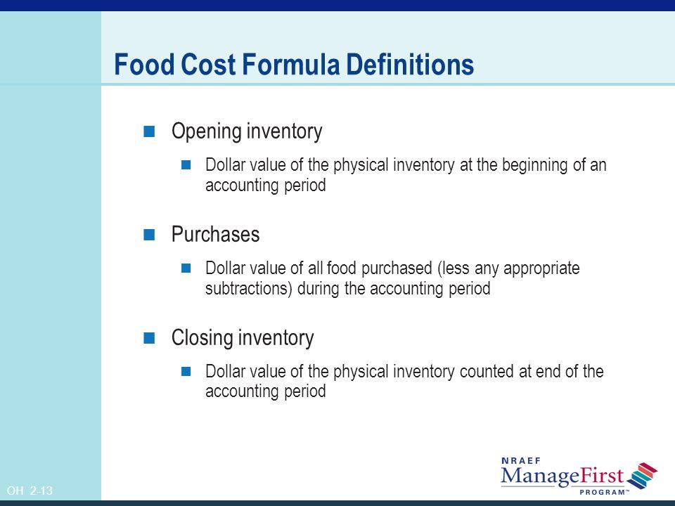 Food Cost Formula Definitions