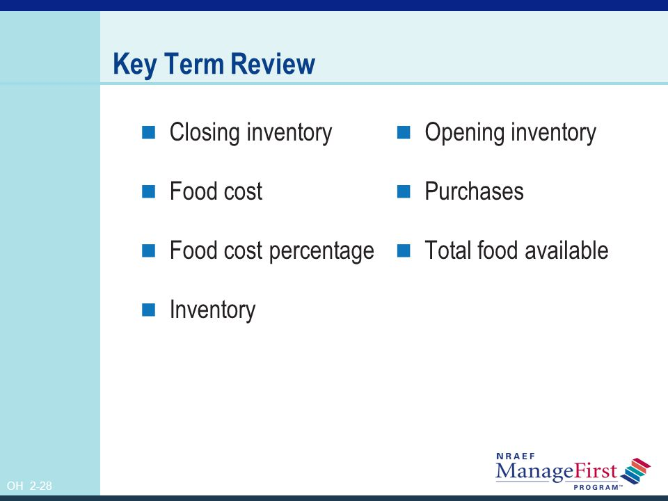 Key Term Review Closing inventory Food cost Food cost percentage