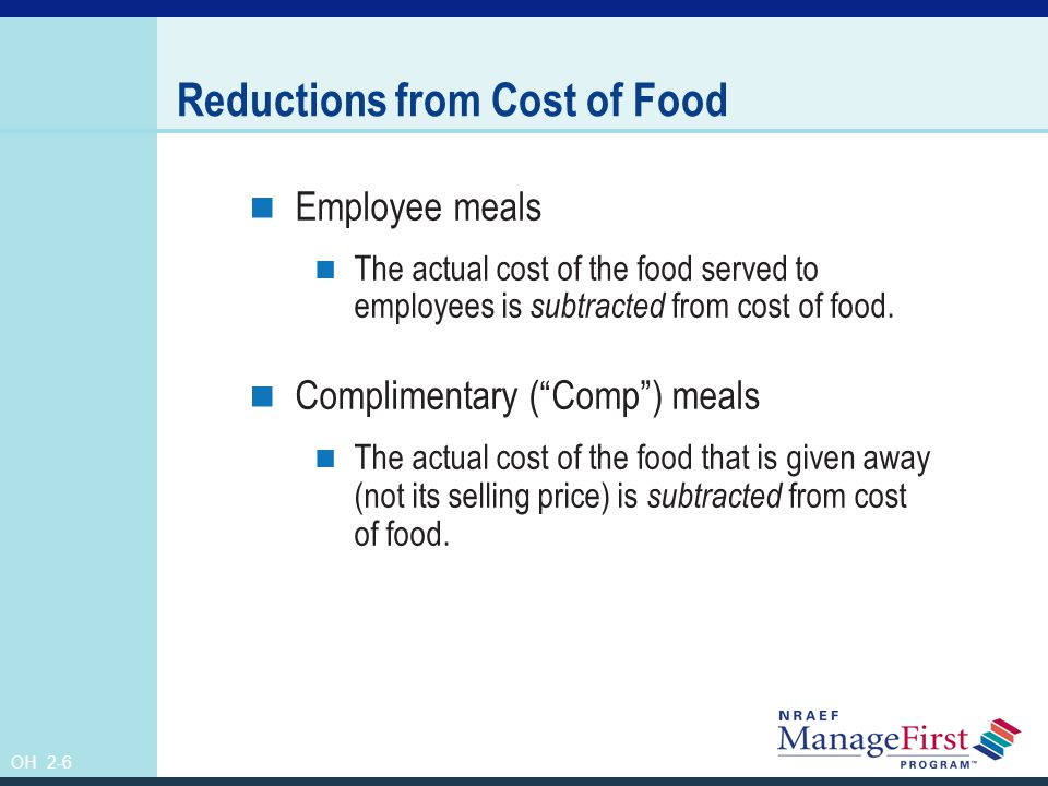 Reductions from Cost of Food