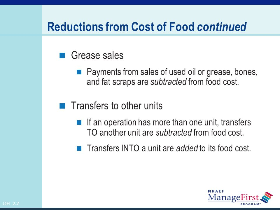 Reductions from Cost of Food continued