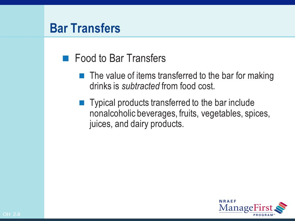 Bar Transfers Food to Bar Transfers