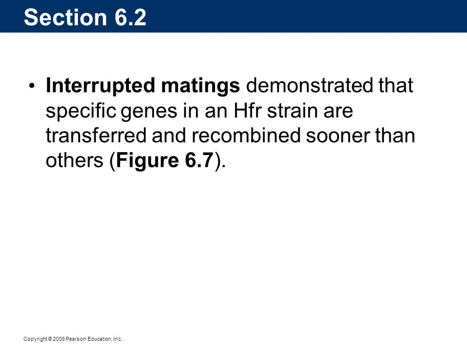 Section 6.2 Interrupted matings demonstrated that specific genes in an Hfr strain are transferred and recombined sooner than others (Figure 6.7).