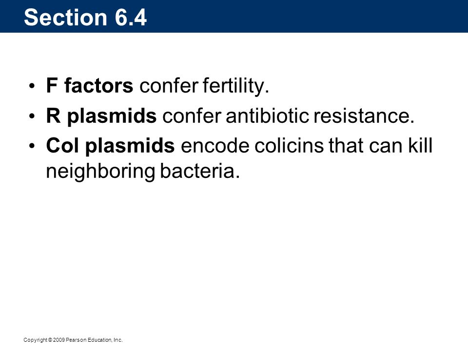 Section 6.4 F factors confer fertility.