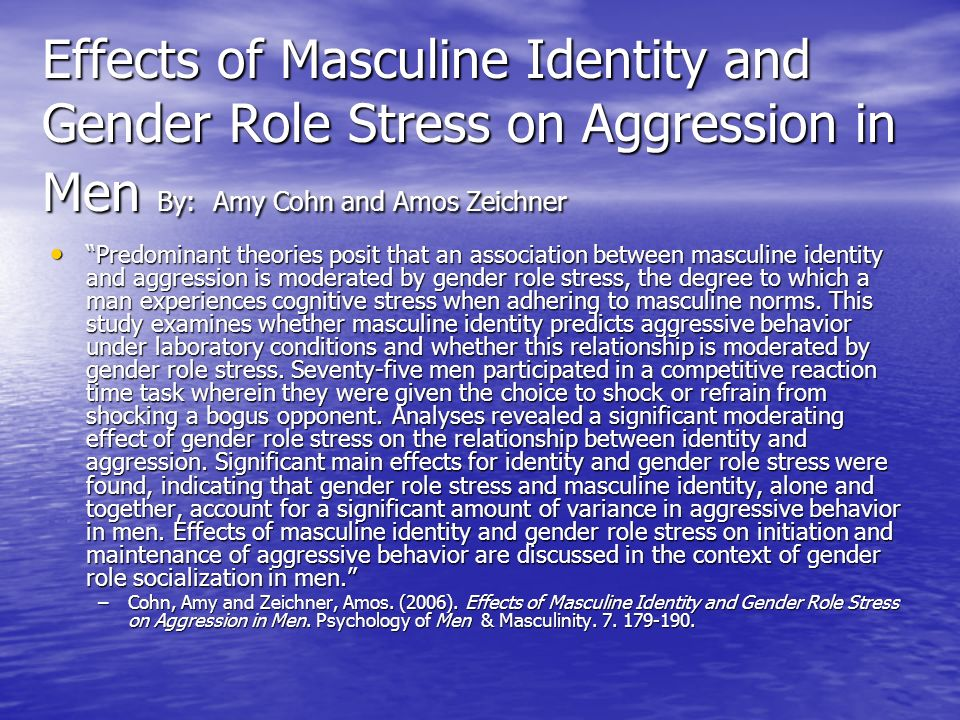 Effects of Masculine Identity and Gender Role Stress on Aggression in Men By: Amy Cohn and Amos Zeichner