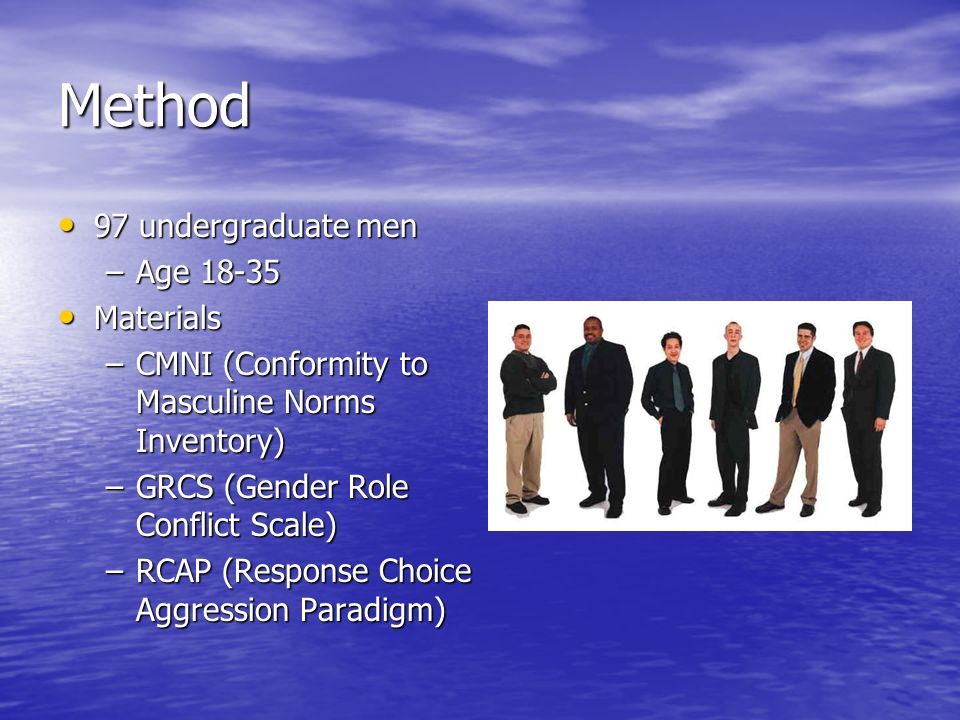 Method 97 undergraduate men Age Materials