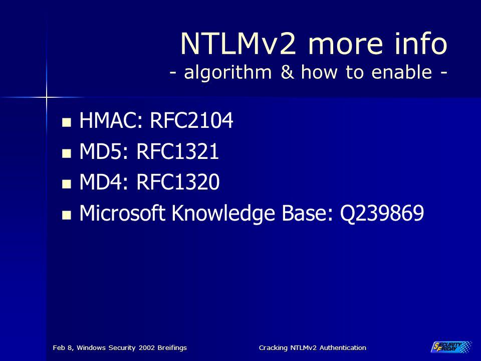 NTLMv2 more info - algorithm & how to enable -