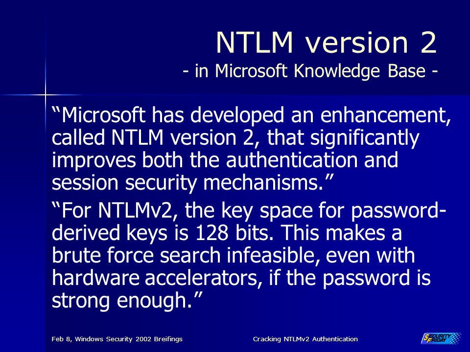 NTLM version 2 - in Microsoft Knowledge Base -