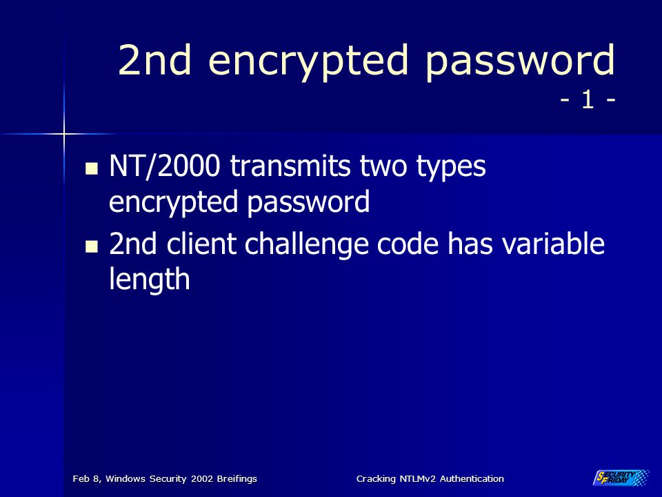 2nd encrypted password - 1 -