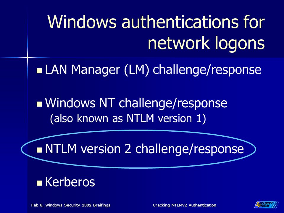 Windows authentications for network logons