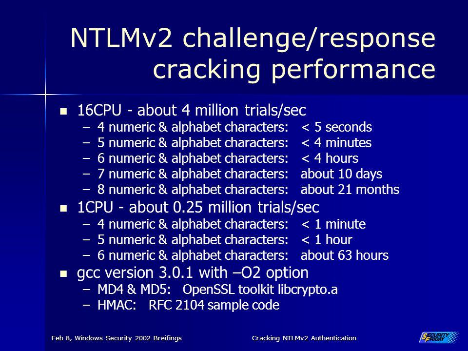 NTLMv2 challenge/response cracking performance
