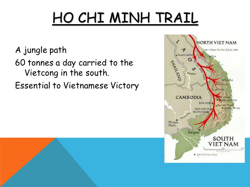 Ho Chi Minh Trail A jungle path 60 tonnes a day carried to the Vietcong in the south.