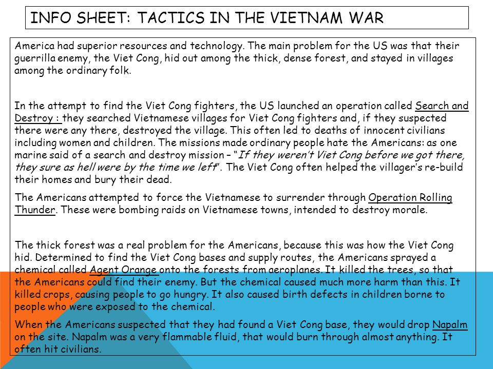 Info sheet: tactics in the Vietnam War