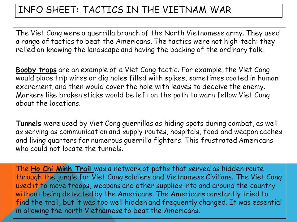 Info sheet: tactics in the Vietnam War