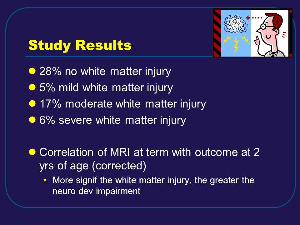 Study Results 28% no white matter injury 5% mild white matter injury