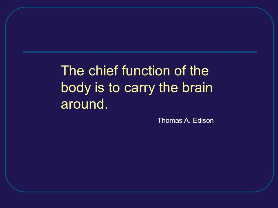 The chief function of the body is to carry the brain around.