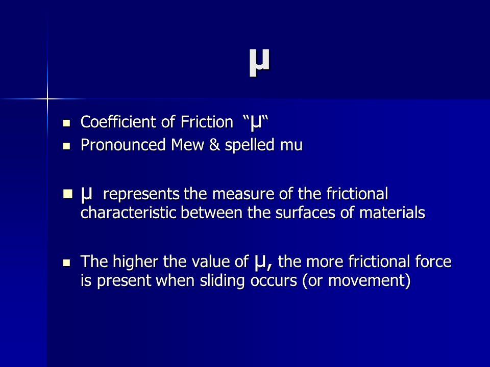 μ Coefficient of Friction μ Pronounced Mew & spelled mu.