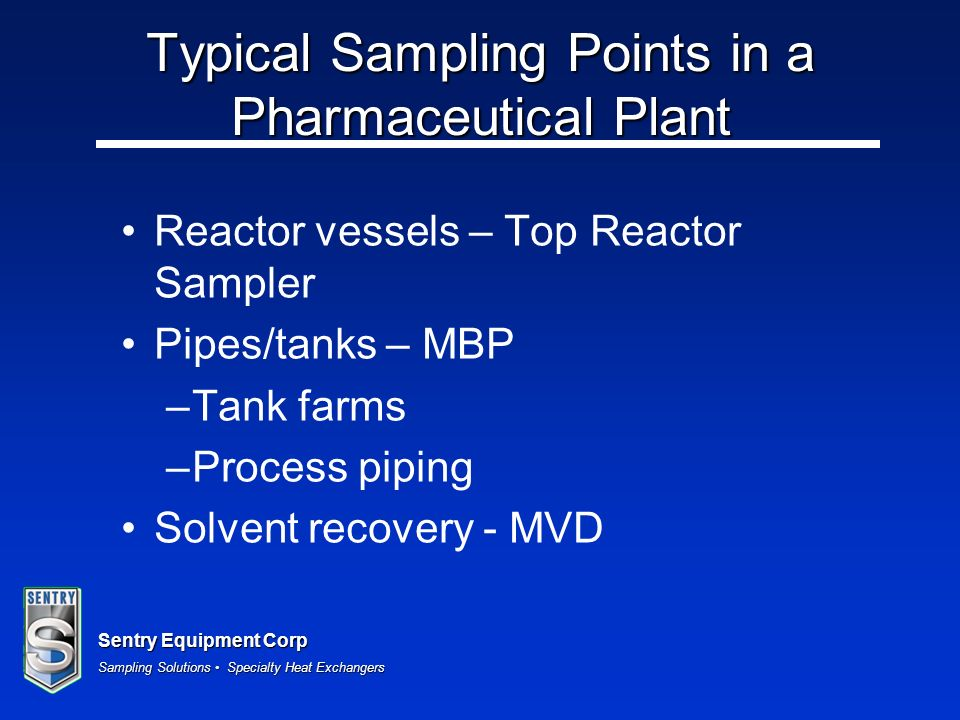 Typical Sampling Points in a Pharmaceutical Plant