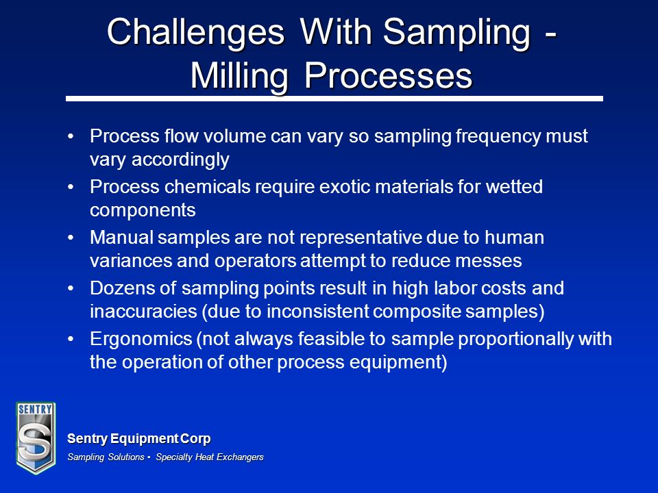 Challenges With Sampling - Milling Processes