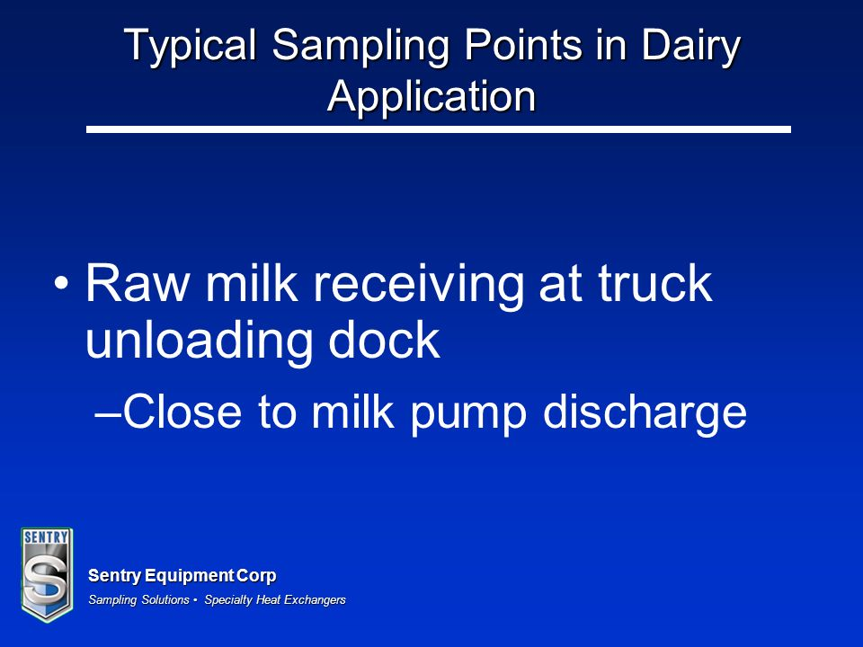 Typical Sampling Points in Dairy Application