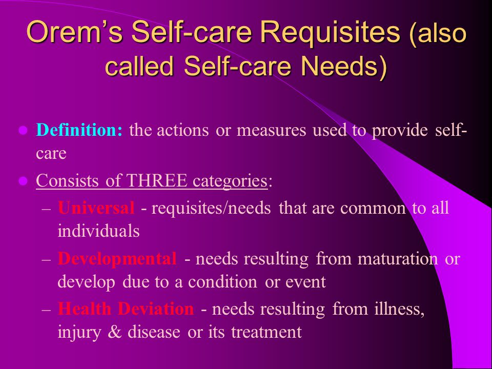 Orem's Self-care Requisites (also called Self-care Needs)