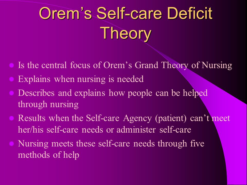 dorothea orem' self care deficit theory of Orem's general theory of nursing consists of three encapsulated theories: self-care theories, self-deficit theory, and nursing theory (mcewen& wills, 2011.