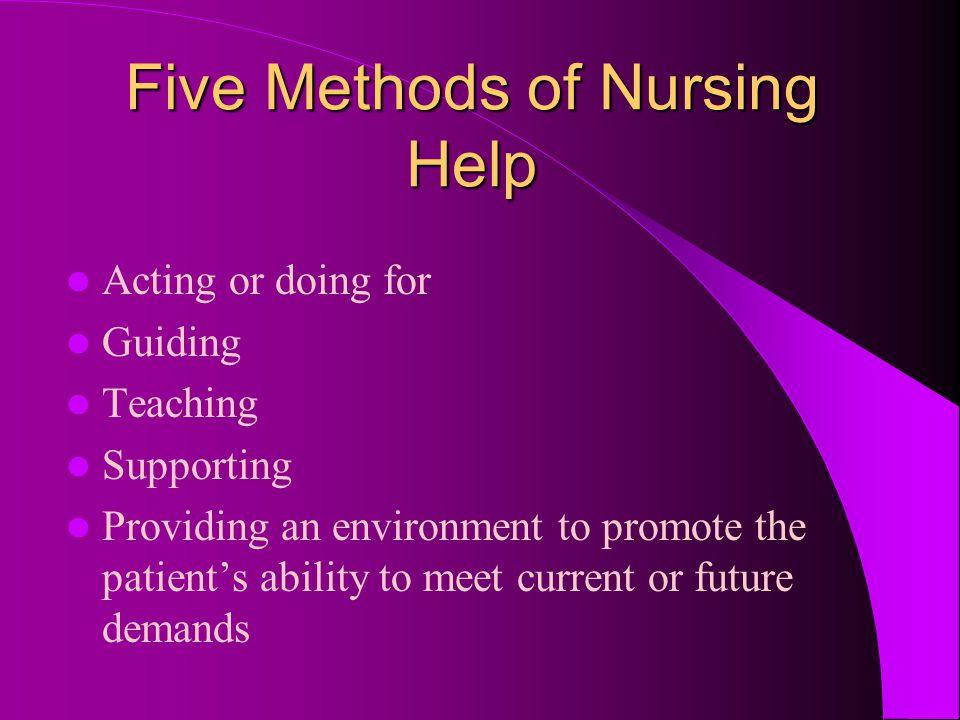 Five Methods of Nursing Help