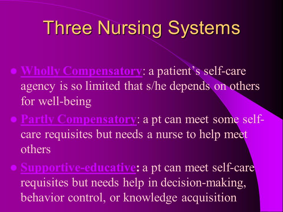 Three Nursing Systems Wholly Compensatory: a patient's self-care agency is so limited that s/he depends on others for well-being.