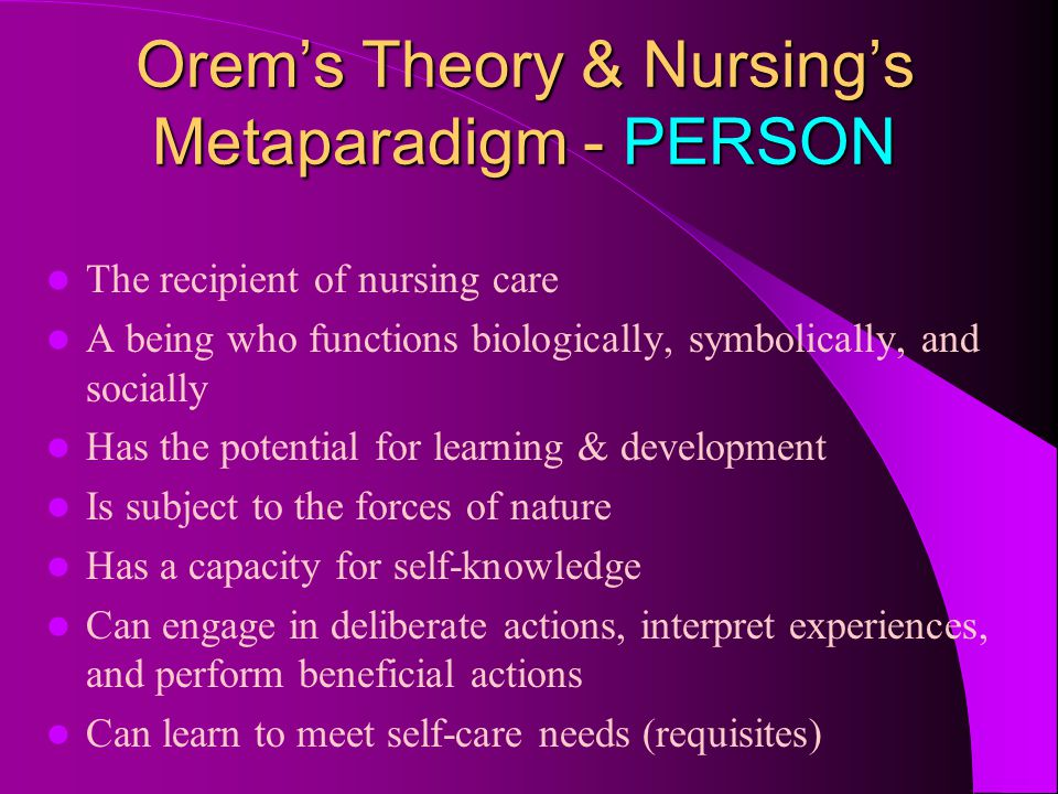 orem self care deficit theory Encapsulating the work of a classic nursing theorist, this book provides a unique overview of orem's self-care deficit model of nursing orem's model proposes.