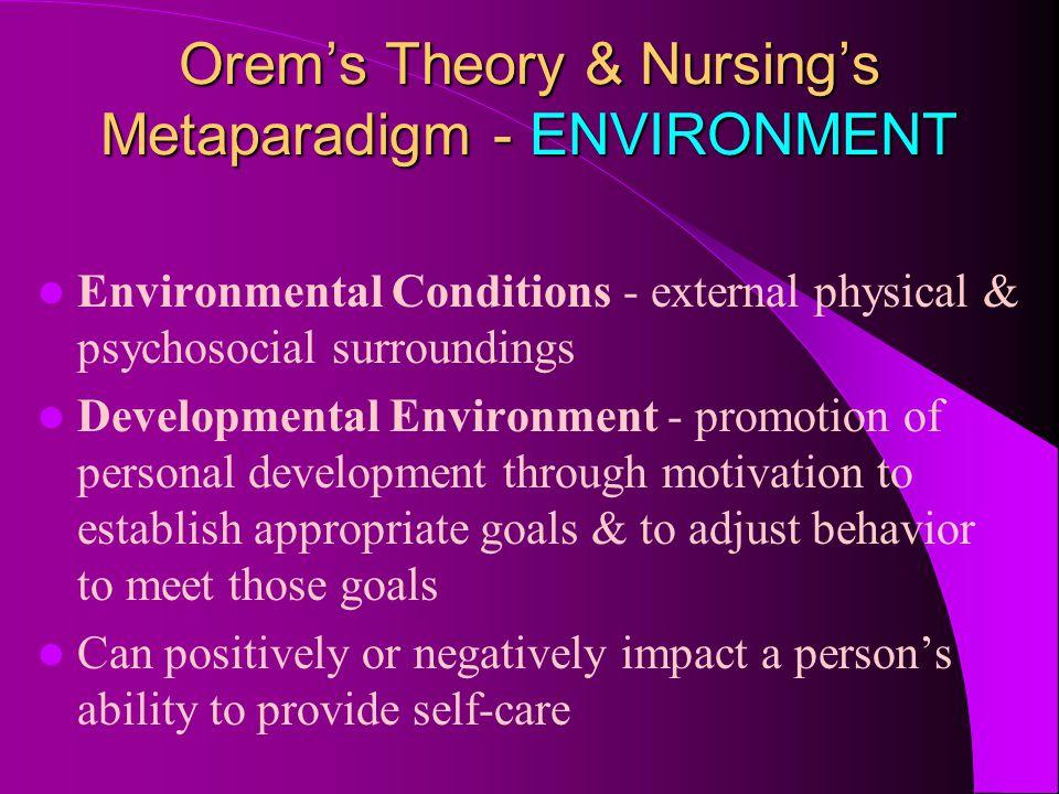 Orem's Theory & Nursing's Metaparadigm - ENVIRONMENT