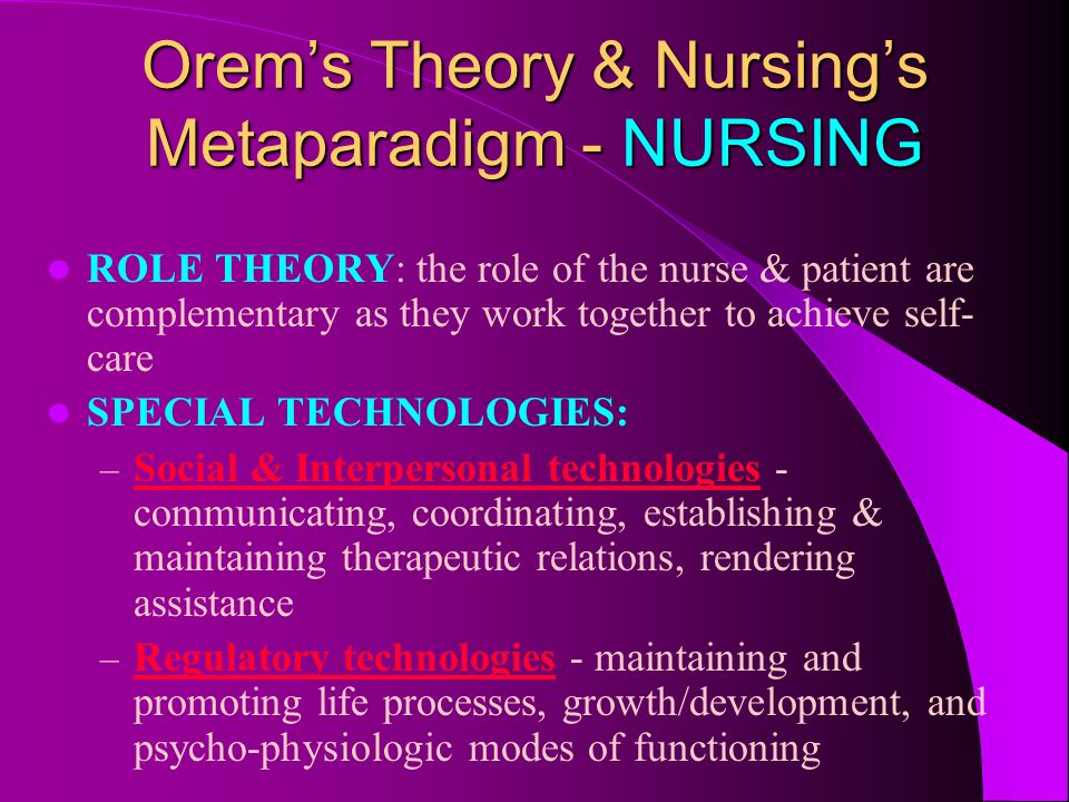 Orem's Theory & Nursing's Metaparadigm - NURSING