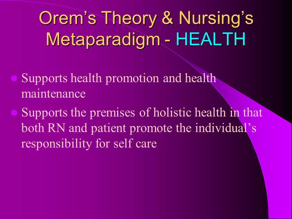Orem's Theory & Nursing's Metaparadigm - HEALTH
