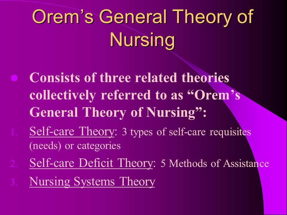 theory self care deficit nursing Description and scope of self-care orem's 1 theory of nursing, often characterized as the self-care deficit nursing theory, 2 describes self-care as comprising all of the voluntary activities that individuals undertake in order to maintain their health, life, and general well-being.