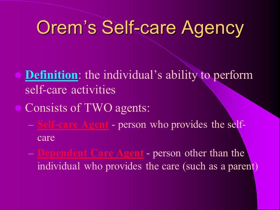 Orem's Self-care Agency