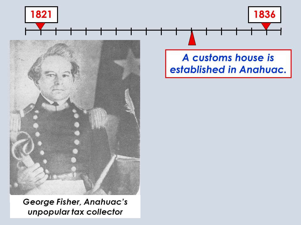 1831 A customs house is established in Anahuac. vv