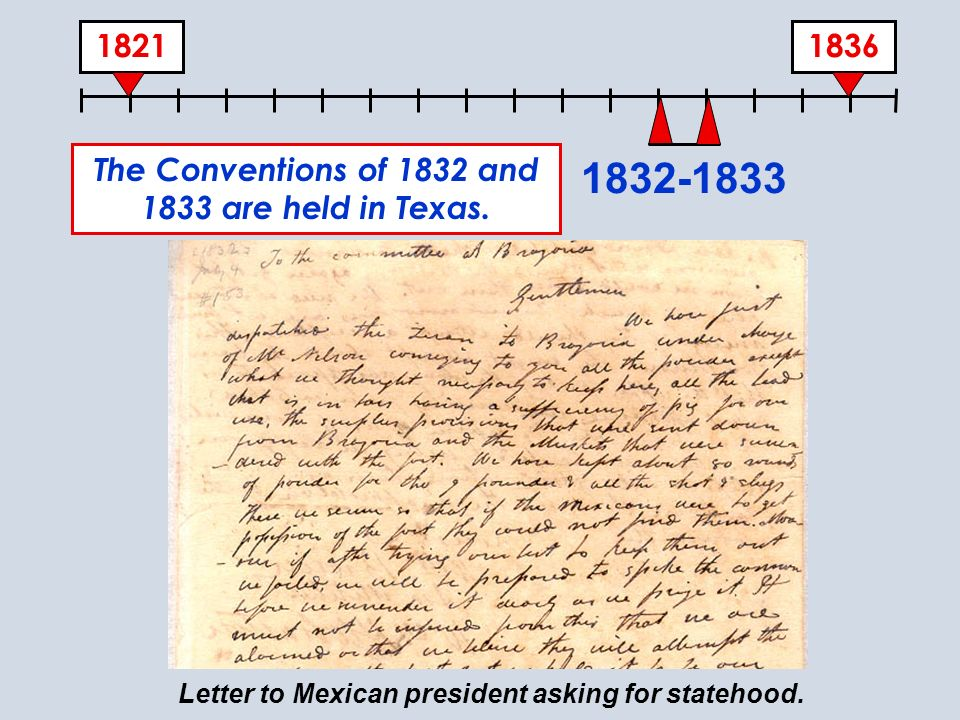 The Conventions of 1832 and 1833 are held in Texas.