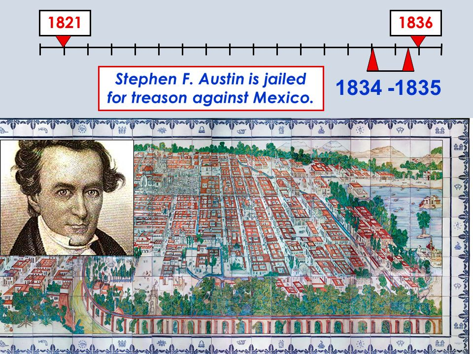 Stephen F. Austin is jailed for treason against Mexico.