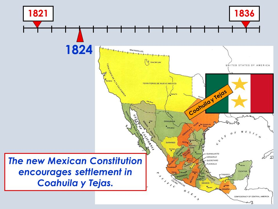 1824 Coahuila y Tejas The new Mexican Constitution encourages settlement in Coahuila y Tejas.