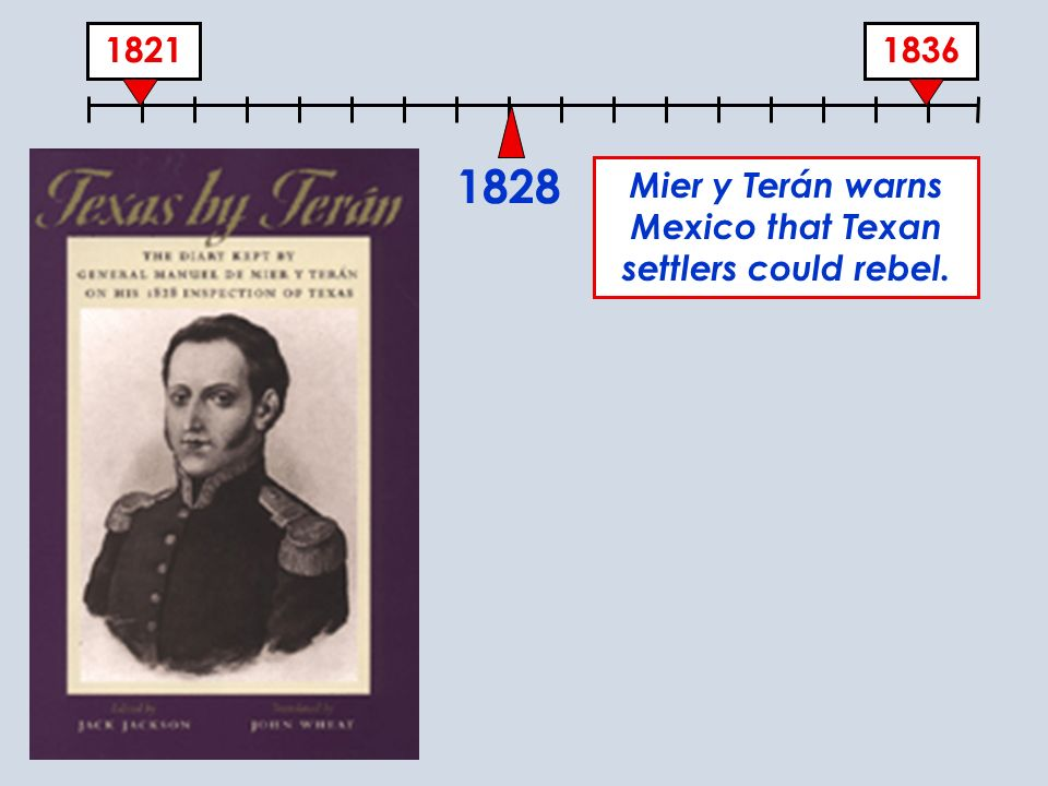 Mier y Terán warns Mexico that Texan settlers could rebel.